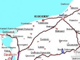Колобжег на карте